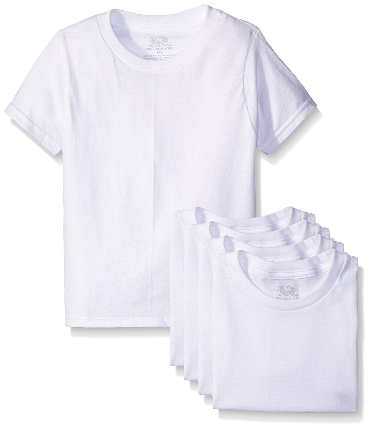 Fruit The Loom Little Boys' Crew Tee Five-Pack (Pack of 5) (4T/5T ( 36-38'') lbs, White)