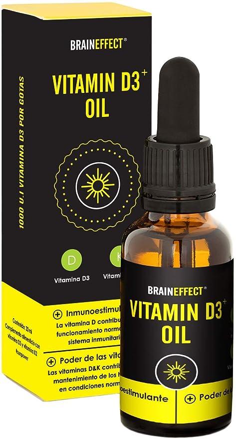 BRAINEFFECT Vitamina D3 y K2 líquida | 1000 UI / 25 µg por gota | 20