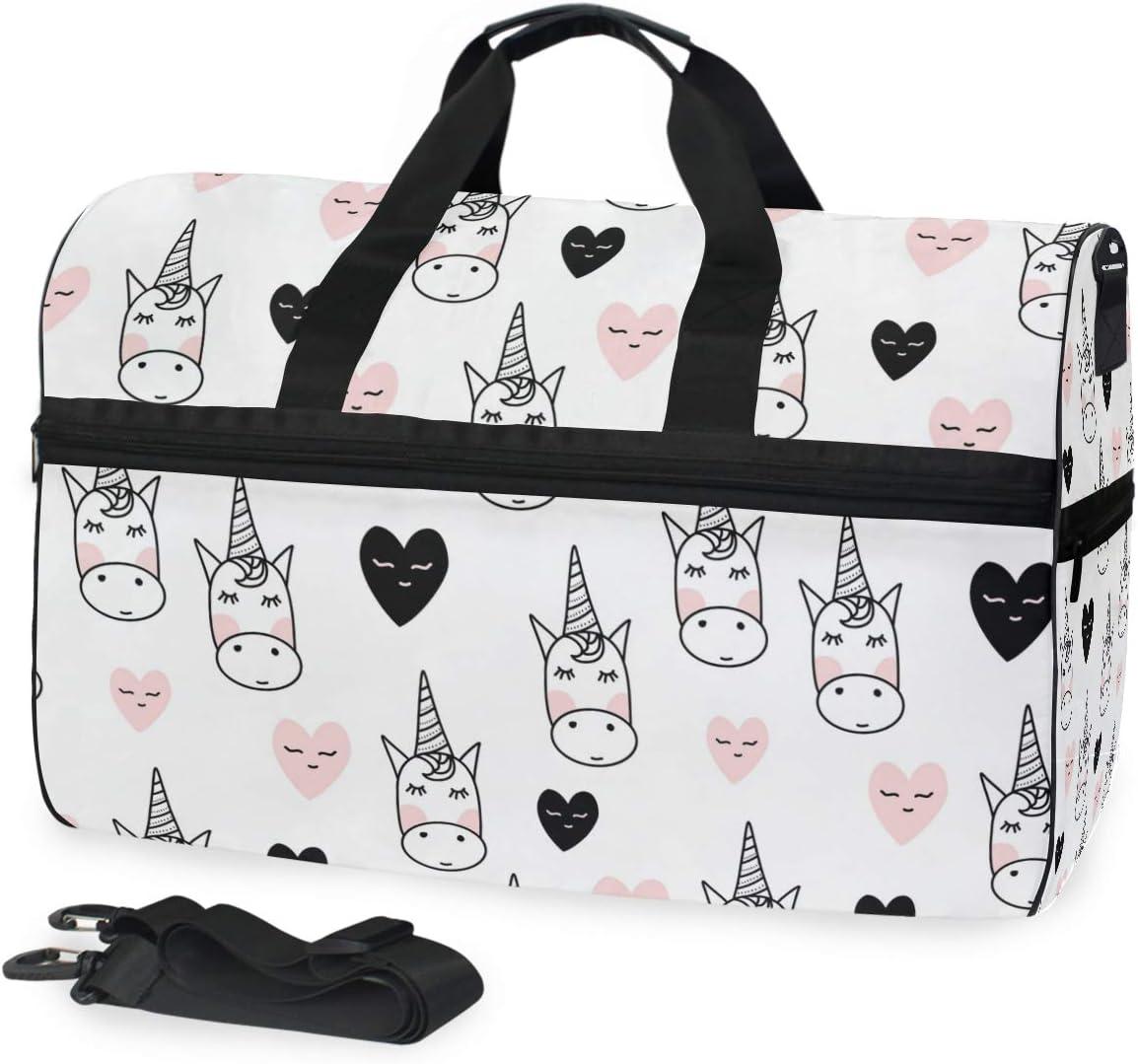 Travel Duffels Cute Unicorn Duffle Bag Luggage Sports Gym for Women /& Men