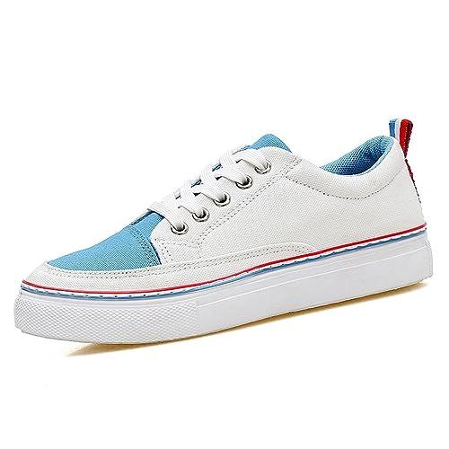JRenok Femmes Chaussures Plates à Lacets Mode Baskets en Toile Marche  Running Sneakers Confortable Respirant Bleu