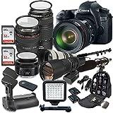 Canon EOS 6D 20.2 MP Full Frame CMOS Digital SLR DSLR Camera w/ EF 24-105mm f/4 L IS USM Lens + Canon EF 70-300mm f/4-5.6 IS USM Lens + 500mm f/8 Preset Lens + Accessory Bundle