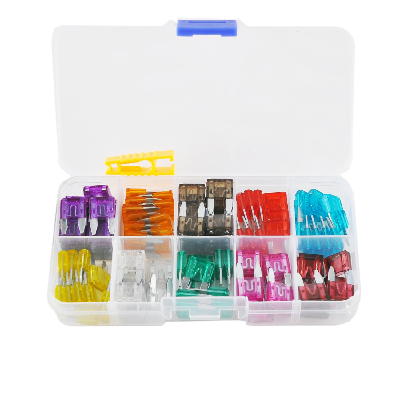 120pcs Auto Mini Blade Fuse Kit 3A 5A 7.5A 10A 15A 20A 25A 30A 35A 40A Assorted Set for Car Boat Truck SUV by RCRunning