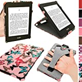 iGadgitz 'Desginer Collection' Butterfly Pattern PU 'Heat Molded' Leather Case Cover for Amazon Kindle Paperwhite 2015 2014 2013 2012 With Sleep/Wake Function + Viewing Stand & Integrated Hand Strap