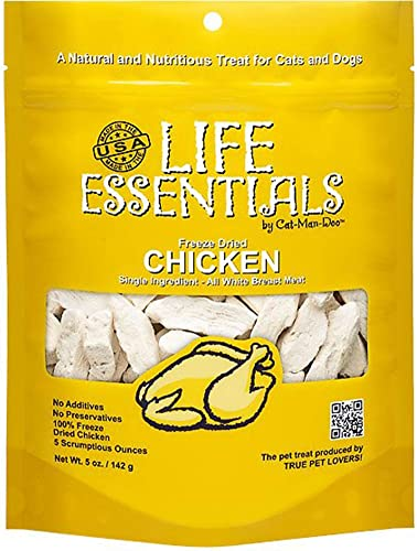 LIFE ESSENTIALS By Cat-Man-Doo All Natural Freeze Dried Chicken For Dogs Cats – No Fillers, Preservatives, or Additives — Grain Free Tasty Treat — 5 Oz Bag — Made in USA