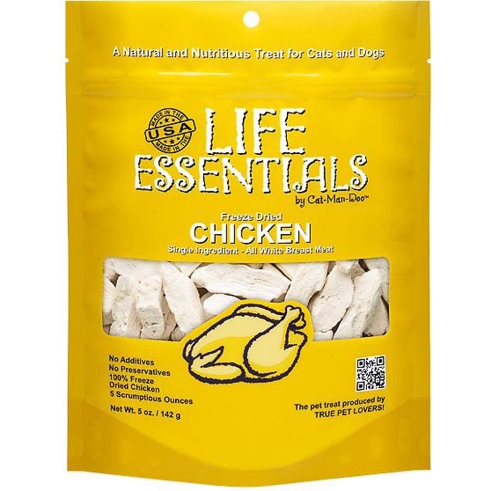 LIFE ESSENTIALS By Cat-Man-Doo All Natural Freeze Dried Chicken For Dogs & Cats - No Fillers, Preservatives, or Additives -- Grain Free Tasty Treat -- 5 Oz Bag -- Made in USA by LIFE ESSENTIALS BY CAT-MAN-DOO