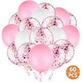 "Hianjoo Balloons Set [60 Pcs], 12"" Latex Confetti Balloons with 4 Roll Ribbon and 1 Dispensing for Birthday, Wedding…"