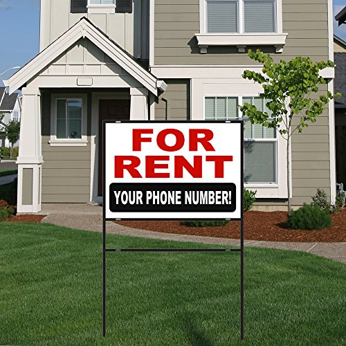 (BuildASign for Rent Aluminum Yard Sign with 18x24 Metal Frame - Customizable Phone Number!)