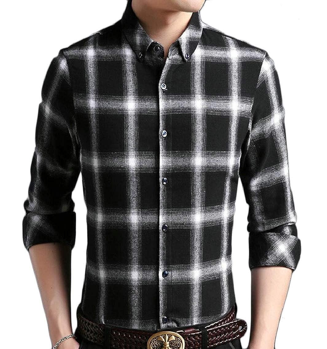 Jmwss QD Mens Basic Slim Fit Long Sleeve Plaid Checked Shirts Button Down Shirts