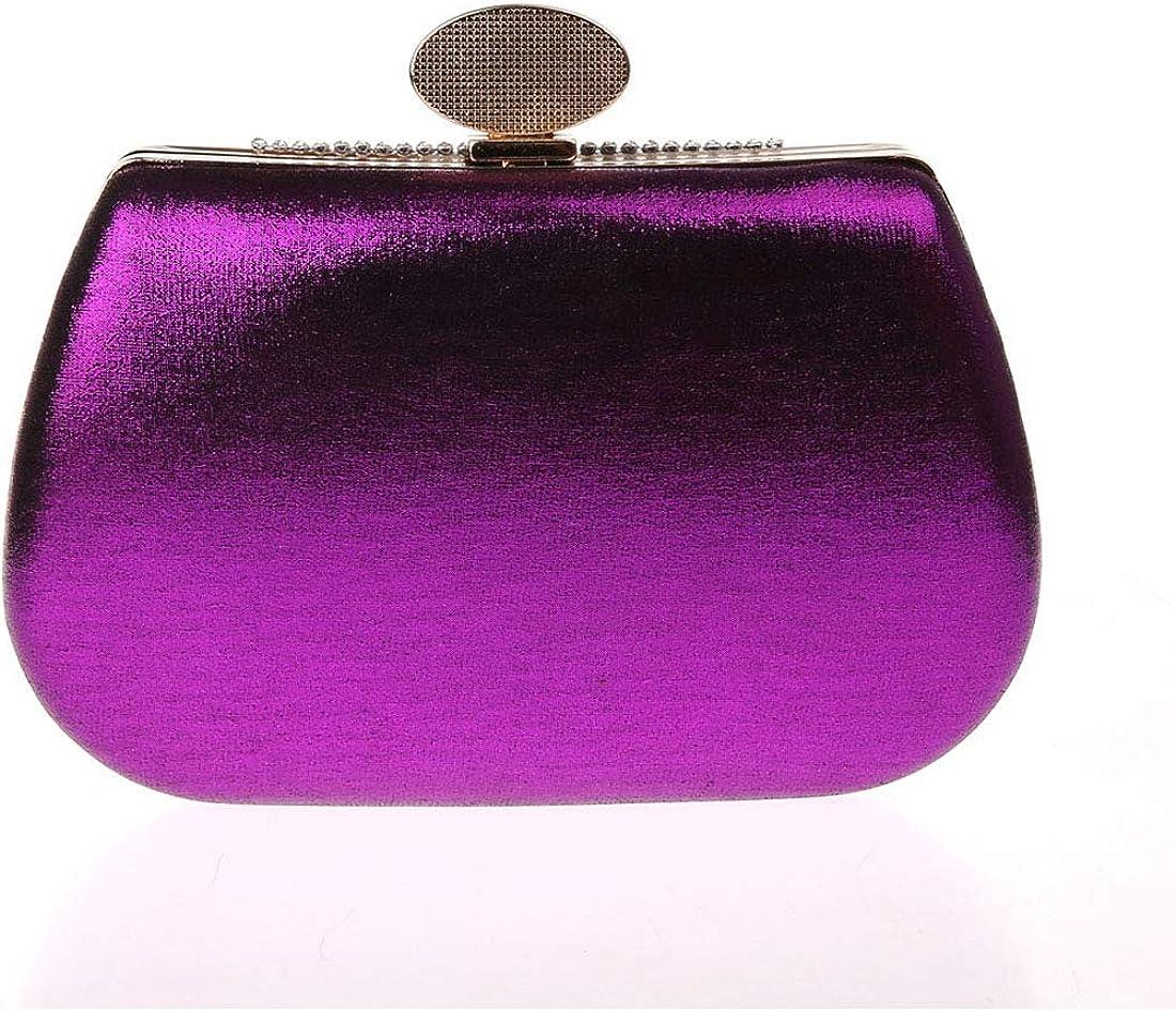 KELUOSI Luxus Damentasche Clutches Handtasche Abendtasche Satin Brauttasche mit Strass Violett