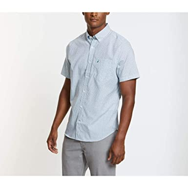 259152a9 Nautica Men's Wrinkle Resistant Short Sleeve Plaid Button Front Shirt, Blue  Bretton, Small