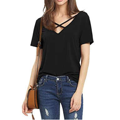 1365932a5d704 Weigou Women T Shirt Summer Short Sleeve Tops Front Cross Deep V Cut Out  Lady Top