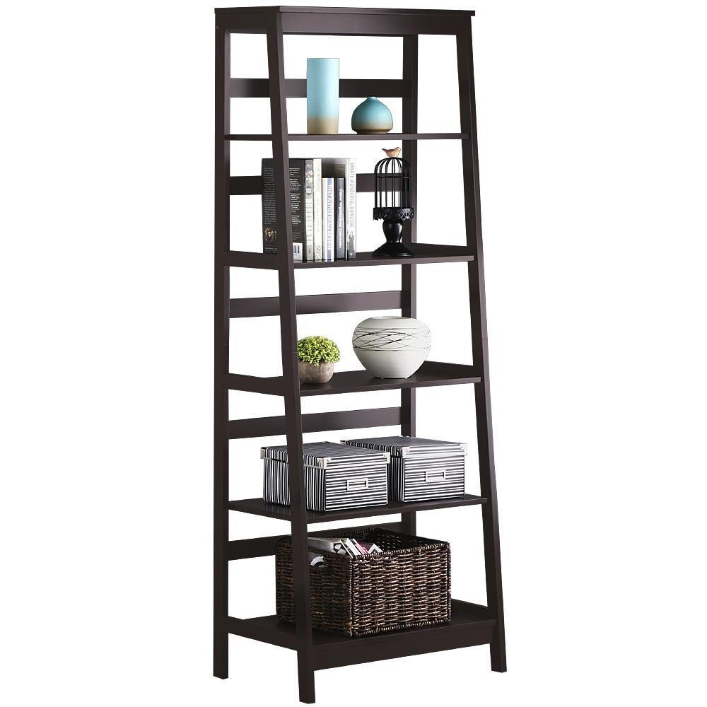 Yaheetech 5-Tier A Frame Wood Ladder Bookshelf Multifunctional Storage Rack Display, Dark Espresso