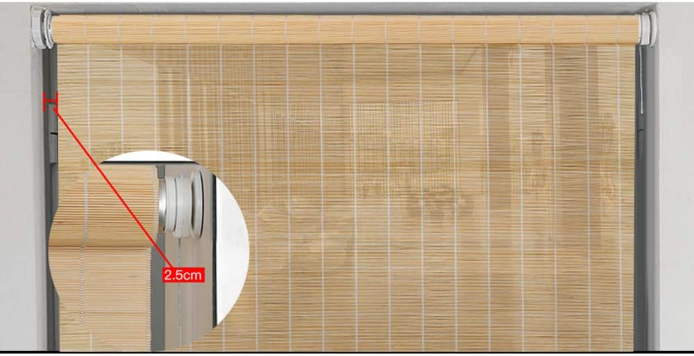 Koovin Bamboo Roller Blinds Vertical Blackout Decorative