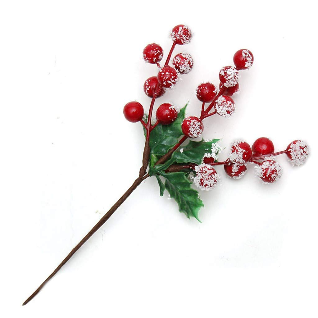 Iusun Christmas Tree Decorations Flowers Auspicious Fruits Xmas Tree Plant Berries DIY Ornament Wedding Party Holiday New Year Decor (Red)