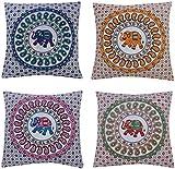 ANJANIYA 4 Elephant Mandala Beautiful Boho Cushion Cover Indian Bohemian Style Cotton Throw Pillow Case Hippie Decorative Sofa Couch Cushion Cover 16x16 Inch (Elephant)