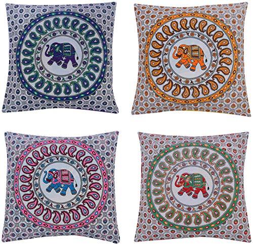ANJANIYA 4 Elephant Mandala Beautiful Boho Cushion Cover Indian Bohemian Style Cotton Throw Pillow Case Hippie Decorative Sofa Couch Cushion Cover 16x16 Inch (Elephant) by ANJANIYA