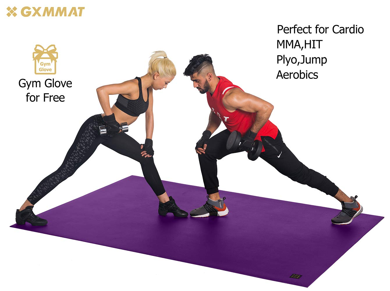 Gxmmat Extra Large Exercise Mat 6'x8'x7mm for Home Gym Flooring, Ultra Durable Cardio Workout Mats Non-Slip,Non-Toxic, Ideal for MMA, Plyo, Jump, All-Purpose Fitness by Gxmmat (Image #2)