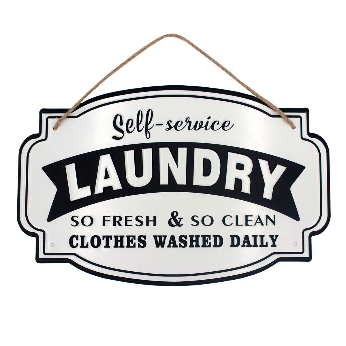 Vintage Metal Laundry Room Wall Decor Sign Hanging with Jute Rope -16x10.2(in)