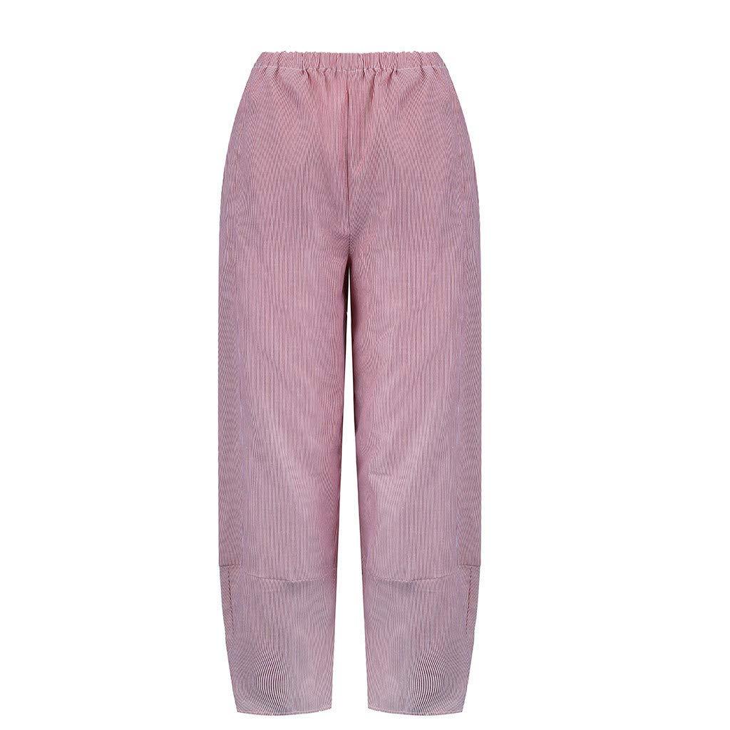 CofeeMO Womens Plus Size Comfort Straight Wide Leg Loose Elastic Waist Striped Pocket Trousers Pants