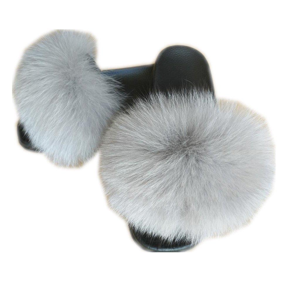 MH Bailment Women Real Fox Fox Fox Fur Feather Vegan Leather Open Toe Single Strap Slip On Sandals 6 B(M) US Llight Grey B07DPDD1JW 6ae325