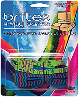 "product image for Alliance Rubber 07875 Brites 4-Way Non Latex Rubber Bands, Multi-Colored Patterns (8 1/2"", 3 Pack)"