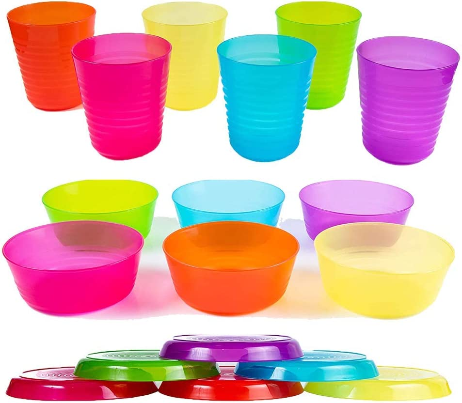 - Reusable Cuddly Hippo Kids Plastic Dinnerware Set of 18 Multi Color Pieces Dishwasher Safe and Microwaveable BPA-Free Plates, Bowls, and Cups