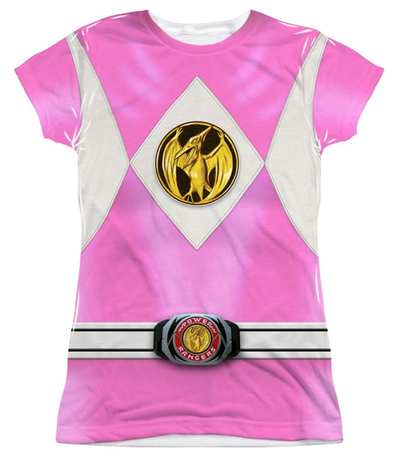 986fbce5b33 Amazon.com  Mighty Morphin Power Rangers Pink Ranger Emblem Costume Junior  Fit - All Over Front T-Shirt  Clothing