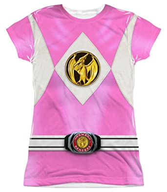 965fd14d850 Image Unavailable. Image not available for. Color  Mighty Morphin Power  Rangers Pink Ranger Emblem Costume Junior ...