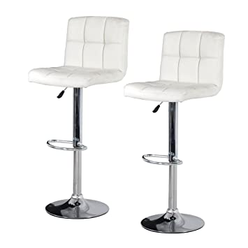 Faux Leather Bar Stool White 2 Pack Amazon Co Uk Kitchen Home