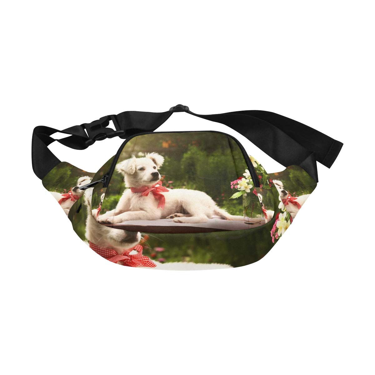 Lovely Dog And Tulip Bunch In Vase Fenny Packs Waist Bags Adjustable Belt Waterproof Nylon Travel Running Sport Vacation Party For Men Women Boys Girls Kids
