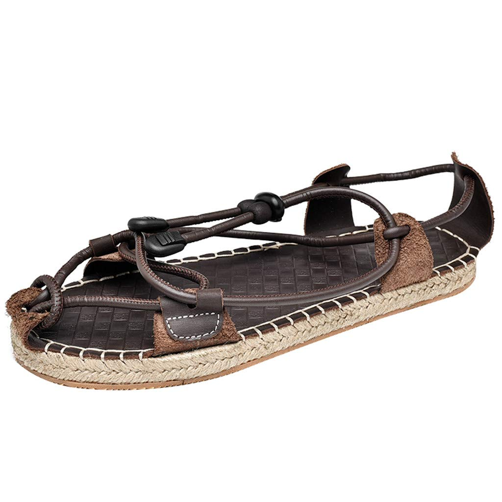 Rope Sandals for Men 2019 New Causal Espadrille Ethnic Style Light Weight Roman Straw Shoes (US:9, Brown)