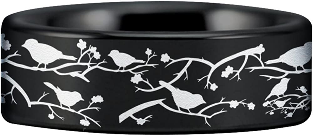 Wedding Band and Anniversary Ring Inspired by Tranquility and Peace Perfect Gift Tungsten Carbide Birds And Branches Ring Fine Jewelry Designed for Maximum Comfort Fit for Men and Women Use
