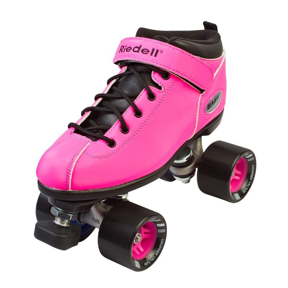 Riedell Dart Quad Roller Derby Speed Skates, Pink, Mens 6 / Ladies 7