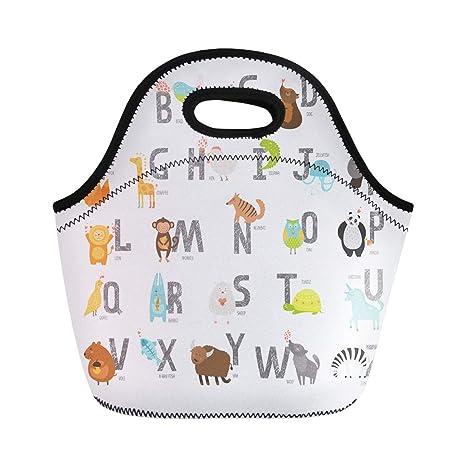 17647d75db2f Amazon.com: Semtomn Neoprene Lunch Tote Bag Cute Zoo Alphabet ...