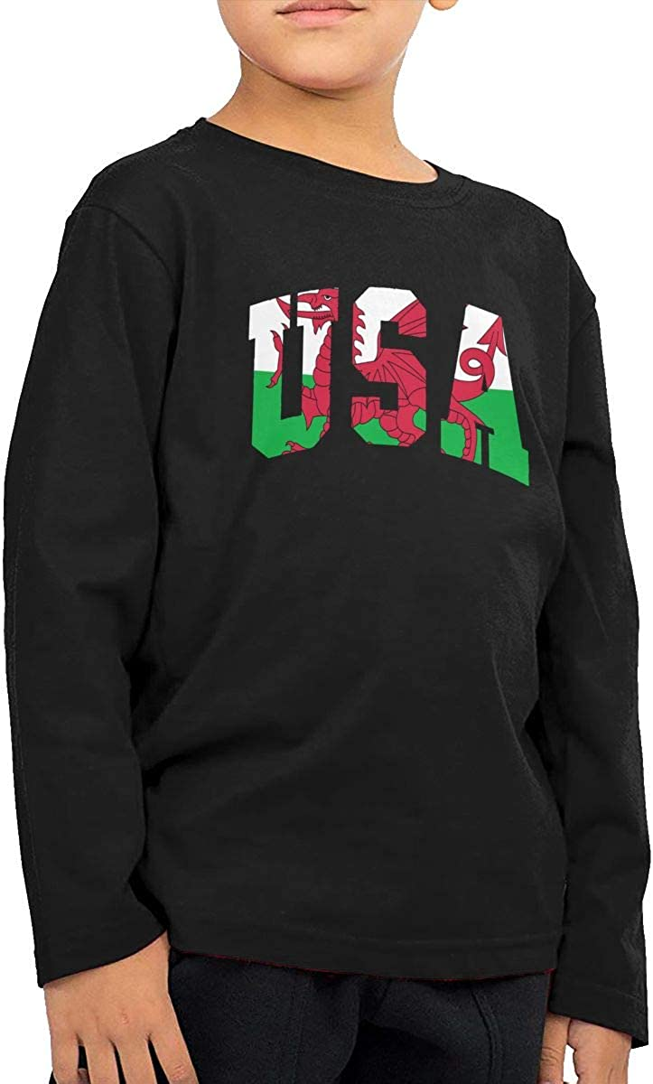 Welsh Flag USA Infant Kids Crew Neck Long Sleeve Shirt Tee Jersey for Toddlers