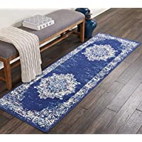 Nourison GRF14 Grafix Traditional Distressed Navy/Blue Area Rug Runner 23 x 76