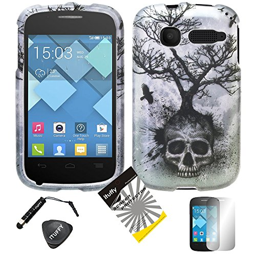 for Alcatel OneTouch Pop C1 ITUFFY 4items Combo: ITUFFY (TM) LCD Screen Protector Film + Stylus Pen + Case Opener + Design Rubberized Snap on Hard Shell Cover (Silver Grey Skull Tree)