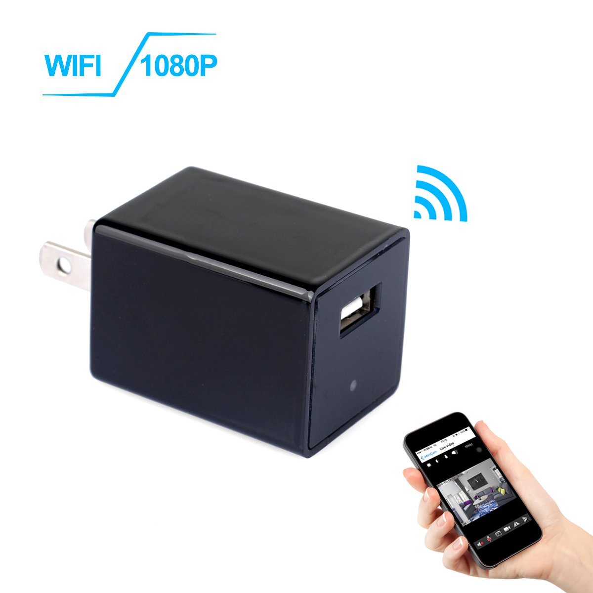 WIFI USB Charger Camera, KAMRE 1080P HD Wall Charger Adapter Wireless Security Camera Motion Activated Real-time Video Camcorder Nanny Cam for Home Security