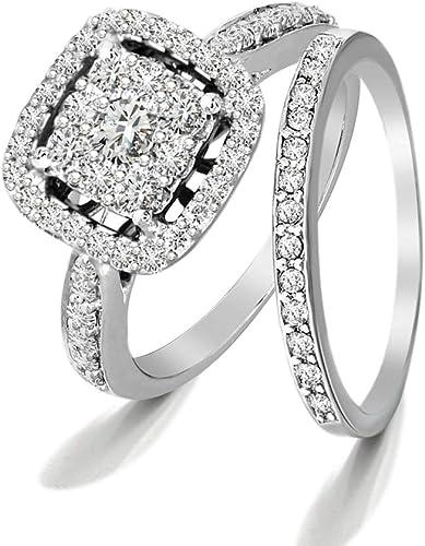 Amazon Com Igi Certified 1 Carat Lab Grown Diamond Engagement Rings For Women 10kt White Gold Diamond Rings I1 I2 Hi Quality Diamond Bridal Designer Ring For Women Jewelry Gifts For Women Clothing