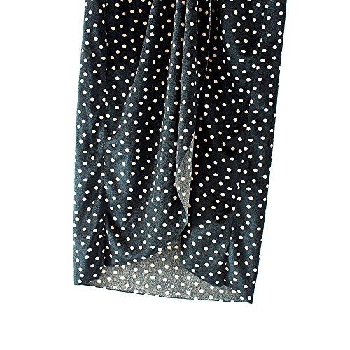 con V OMAS Mujer con Wave Faldas Estampado Falda Cuello de de en largas Falda Terciopelo de YrqP18qgpw