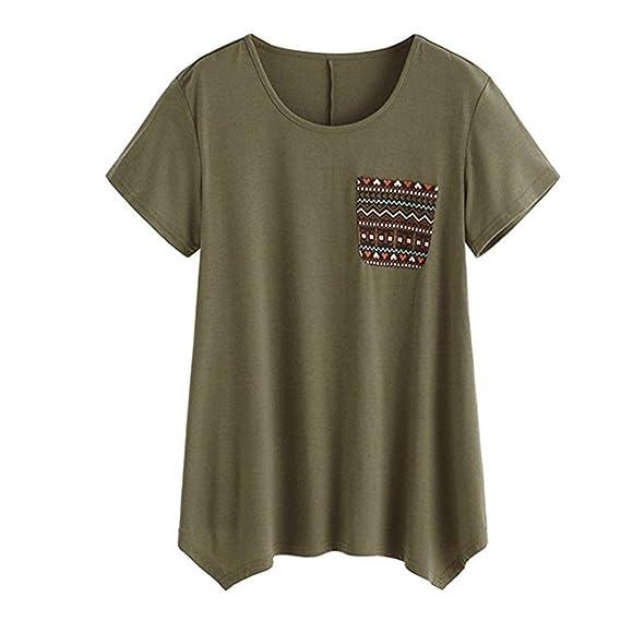 2018 Moda para mujer de manga corta camiseta de bolsillo camiseta Túnica suelta Tops Sudaderas sudaderas