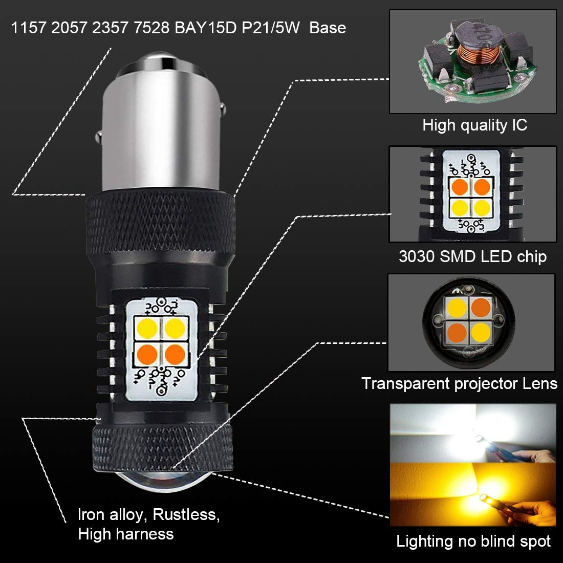 AJUMKER 1157 BAY15D 2057 2357 7528 Switchback LED Bulb Extremely Bright 1600M 3030 16-SMD with Projector Lens,12-24V,Work as Daytime Running Lights//DRL and Turn Signal Lights,White//Amber Pack of 2