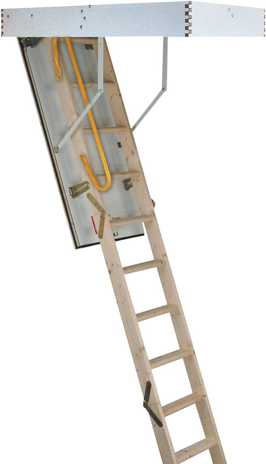 DIY & Tools Building Supplies 3 Section Timber Folding Loft Ladder ...