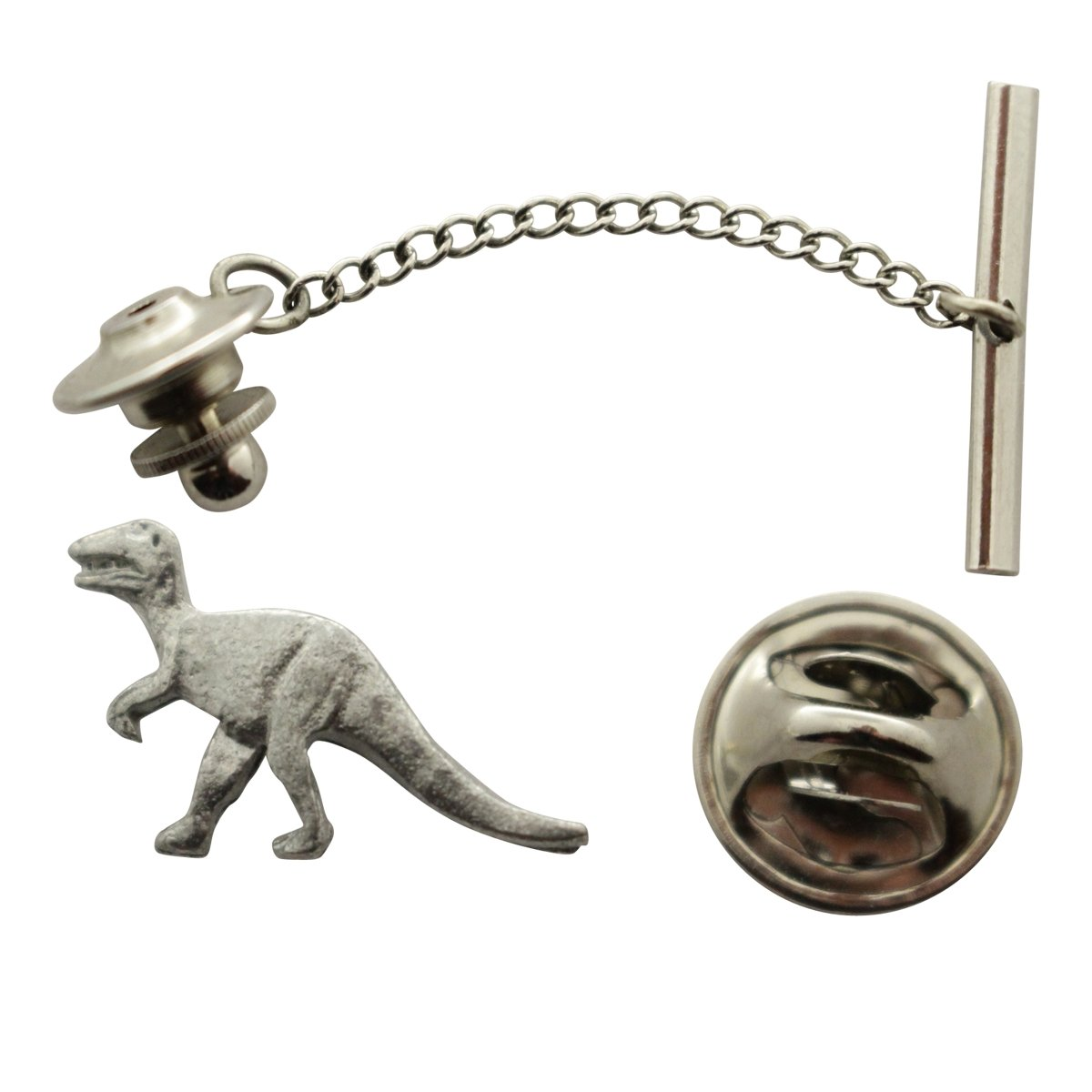 T Rex or Tyrannosaurus Tie Tack ~ Antiqued Pewter ~ Tie Tack or Pin ~ Sarah's Treats & Treasures