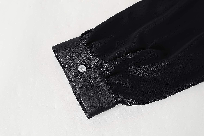 PASLTER Mens Sleepwear Satin Silky Long Sleeve Henley Pajama Sleepshirt Comfy Long Shirts