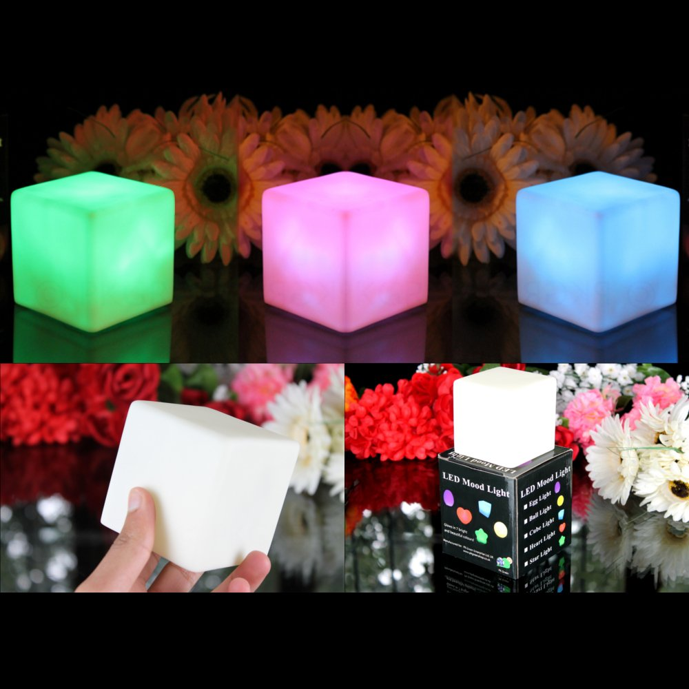 3 Mood Cube Lights   Colour Changing Lamp LED Sensory, Light Up Battery  Cube Mood Lights For Bedroom By PK Green: Amazon.co.uk: Kitchen U0026 Home