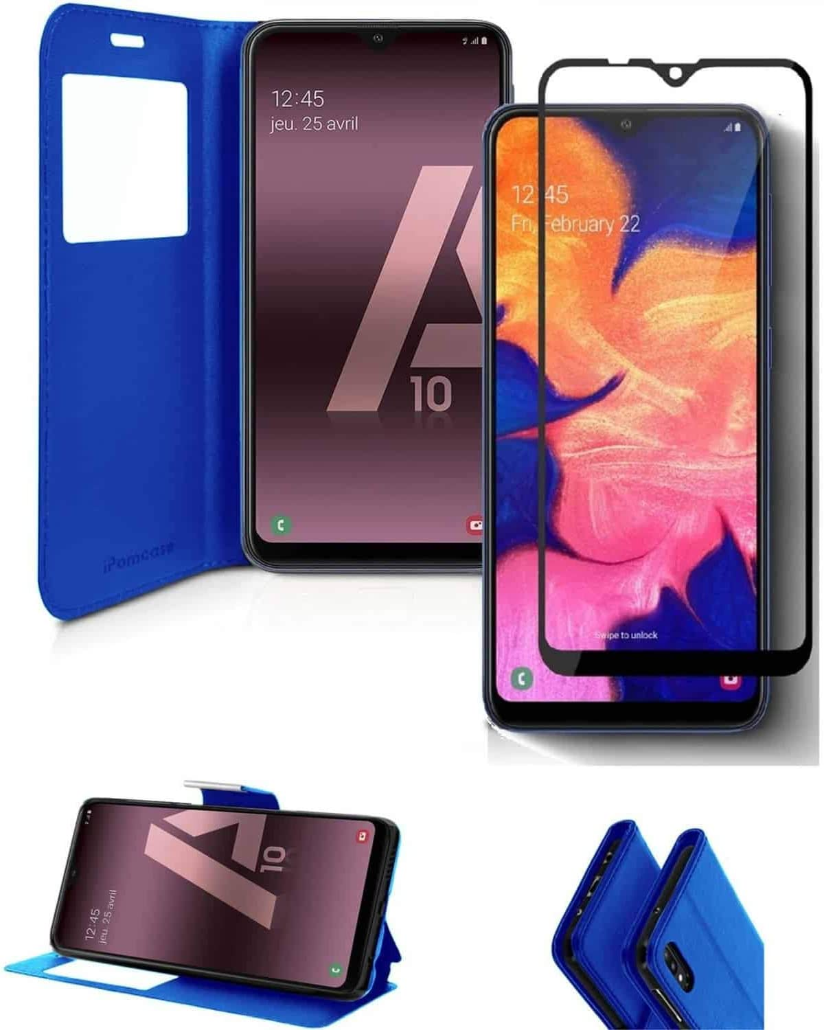 iPOMCASE Case with Tempered Glass 4D for Samsung Galaxy A10 Blue
