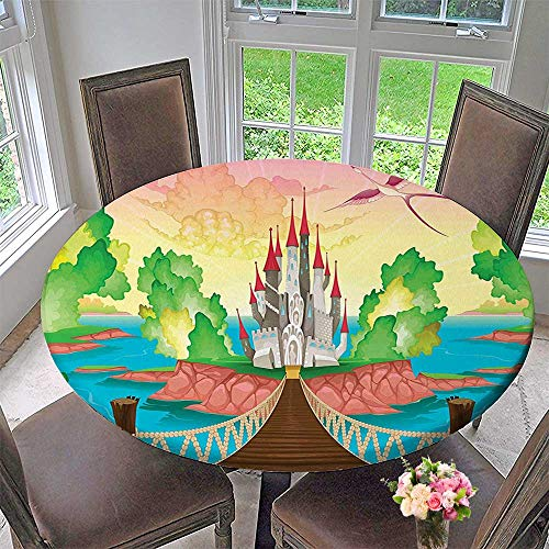 - Mikihome Luxury Round Table Cloth for Home use Princess Castle Above Wooden Bridge and Phoenix Bird Fairy Dream for Buffet Table, Holiday Dinner 55