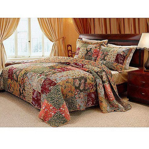 3pc Patchwork Paisley Theme Quilt King Set, Rectangle French Country Lodge Cabin Themed, Elegant HighEnd Rich Artwork Floral Block Pattern Beddding, Coral Pink Green Burgundy Red, Unisex by OSD