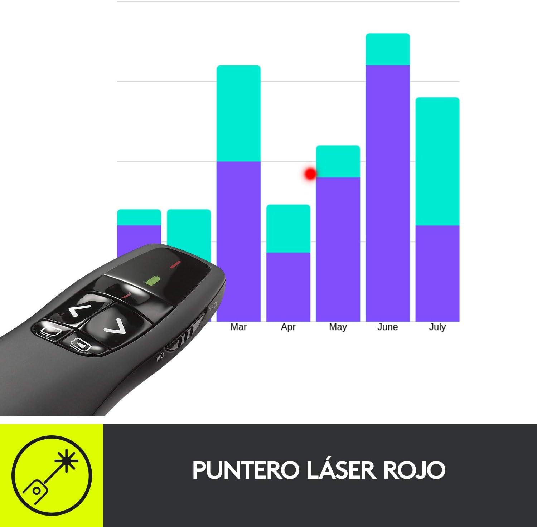 Logitech R400 Presentador Inalámbrico, 2,4 GHz con Receptor USB ...